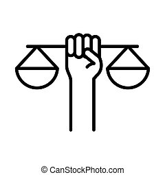 hand holding scale justice law, human rights day, line icon design