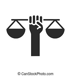 hand holding scale justice law, human rights day, silhouette icon design