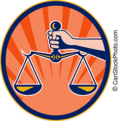Hand holding scales of justice set inside an oval with sunburst in the background.