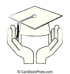 hand holding school graduation hat