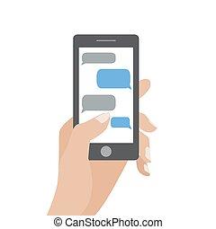 hand holding, schwarz, smartphone, mit, leer, sprechblasen,...