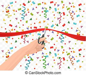 Hand holding scissors and cutting red ribbon on the transperant background with confetti.