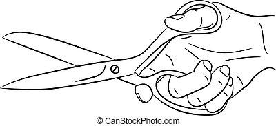 hand holding scissors of monochrome vector illustration