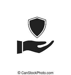 Hand holding shield icon.