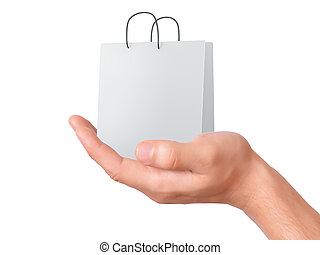 hand holding shopping bag. sale concept
