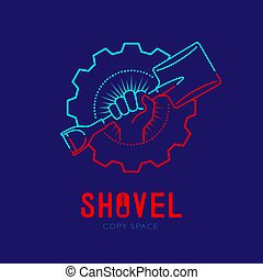 Hand holding Shovel with radius in gear frame logo icon outline stroke set dash line design illustration isolated on dark blue background with Shovel text and copy space