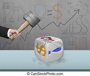 hand holding sledgehammer hitting white dice with doodles wall