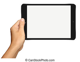 Hand holding Small Black Tablet Computer on white background