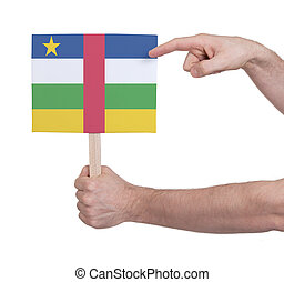 Hand holding small card - Flag of Central African Republic