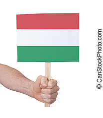 Hand holding small card - Flag of Hungary