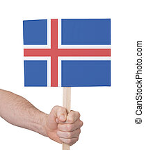Hand holding small card - Flag of Iceland