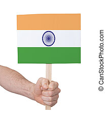 Hand holding small card - Flag of India