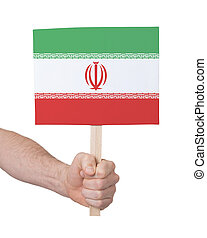 Hand holding small card - Flag of Iran