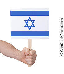 Hand holding small card - Flag of Israel