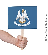 Hand holding small card - Flag of Louisiana