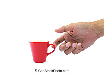 Hand holding small red cup on white backgrounds