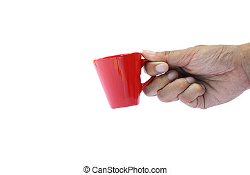 Hand holding small red cup with clipping path