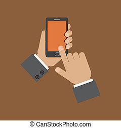 hand holding smart phone and touching screen