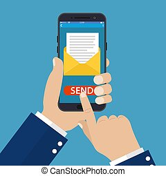 Hand holding smart phone in hand with email