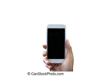 Hand holding smart phone isolated over white