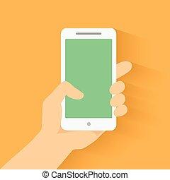 Hand holding smart phone on orange background. Flat design