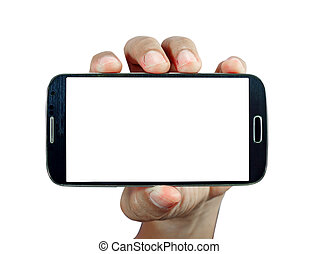 Hand holding smart phone on white background