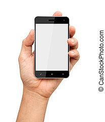 Hand holding smart phone with blank screen on white ...