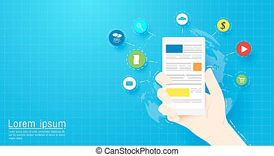 Hand holding Smart phone with Social media and web icons. Flat vector cartoon illustration