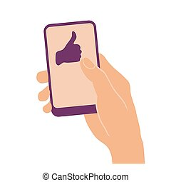 Hand holding smart phone with thumb up