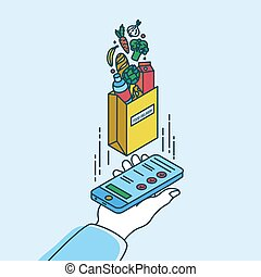 Hand holding smartphone and paper bag with products. Concept of food delivery service or mobile application for online grocery store or shop. Colorful vector illustration in modern line art style.