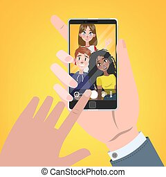 Hand holding smartphone and watching photo in gallery.