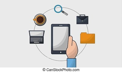 hand holding smartphone business laptop coffee briefcase...