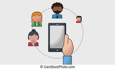 hand holding smartphone business people team
