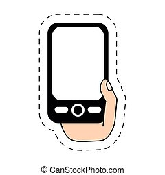 hand holding smartphone-cut line vector illustration eps 10