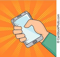 Hand holding smartphone desigh - Hand holding smartphone...
