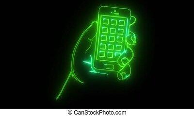 Hand holding smartphone digital animation - Hand holding...