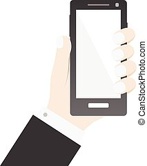 Hand holding smartphone icon commerce concept bussines background