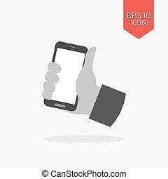 Hand holding smartphone icon. Flat design gray color symbol. Modern UI web navigation, sign.