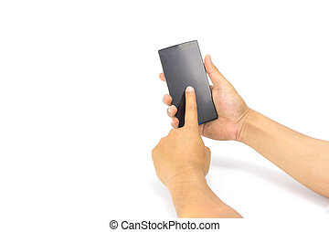 Hand holding smartphone isolated on white
