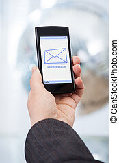 hand holding, smartphone, mit, neu , nachricht