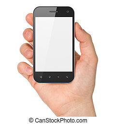 Hand holding smartphone on white background. Generic mobile ...