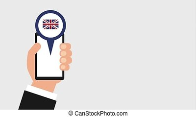 learn english online - hand holding smartphone pin map...