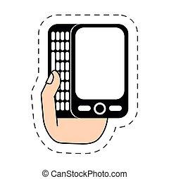 hand holding, smartphone, plaudern, -cut, linie