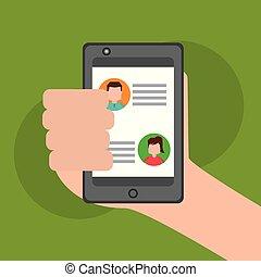 hand holding, smartphone, plaudern, in, der, textanzeige