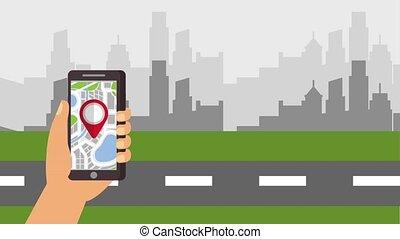 hand holding smartphone pointer map location urban...