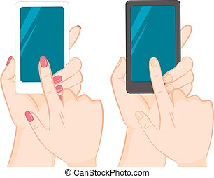 Hand Holding Smartphone Touching Screen