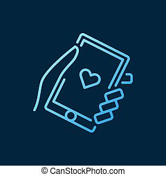 Hand holding smartphone vector blue icon in outline style