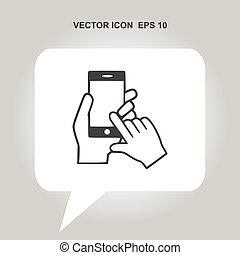 hand holding smartphone vector icon