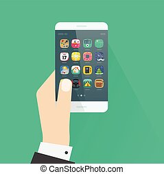 Hand holding smartphone vector illustration isolated on colorful background
