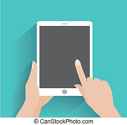 Hand holding smartphone with blank screen - Hand touching...
